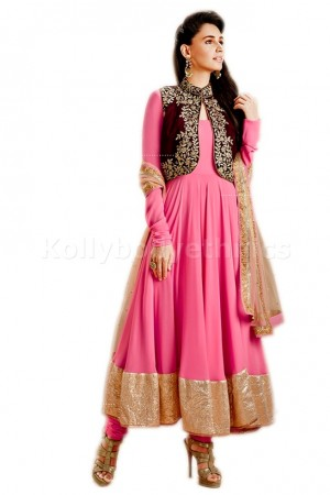 Pink and cream colour Party Wear Anarkali
