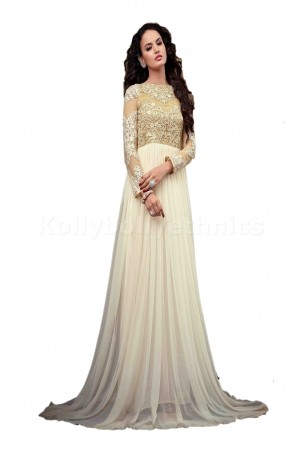 White long gown type Wedding wear Designer Anarkali