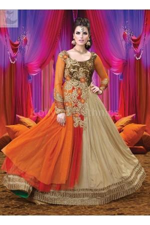 Beige and orange Wedding Wear Designer Anarkali salwar kameez