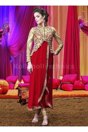 Red jacket style heavy work designer salwar