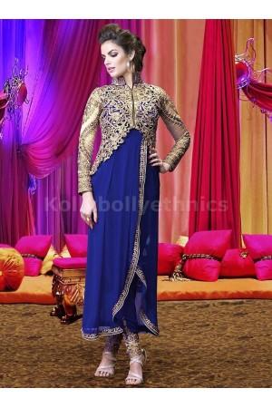 Blue jacket style heavy work designer salwar