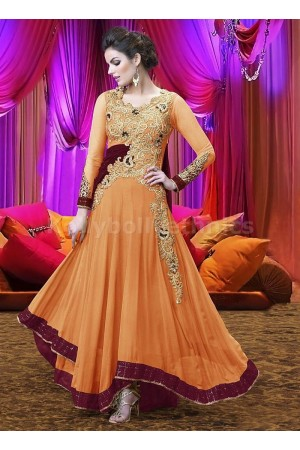 Orange Wedding Wear Designer Anarkali salwar kameez
