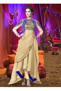 Off white  and blue Wedding Wear Designer Anarkali salwar kameez