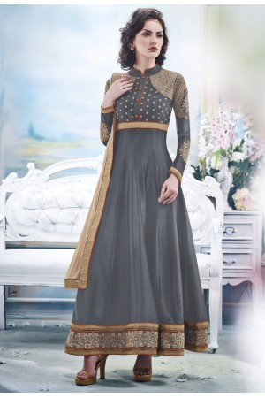 Grey Faux Satin Chiffon Anarkali Suit