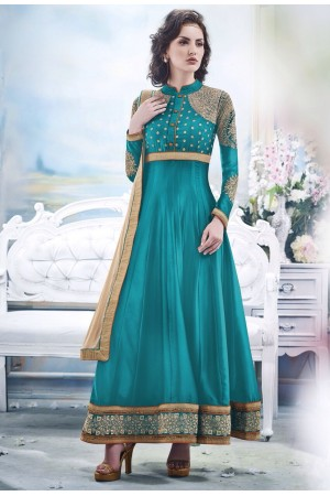 Turquoise Faux Satin Chiffon Anarkal Suit