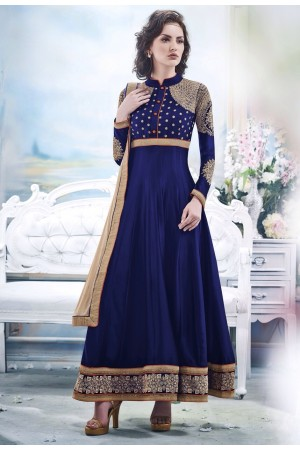 Blue Faux Satin Chiffon Anarkali Suit