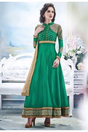 Green Faux Satin Chiffon Anarkali Suit