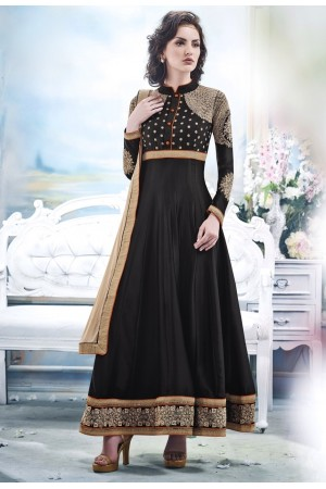 Black Faux Satin Chiffon Anarkali Suit