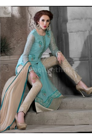Sky blue geogette Party wear straight cut salwar kameez