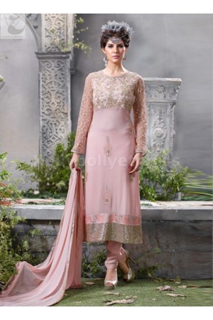 Baby pink georgette Party wear straight cut salwar kameez