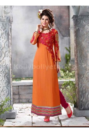 Orange georgette Party wear straight cut salwar kameez