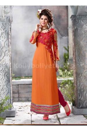 Orange georgette Party wear straight cut salwar kameez