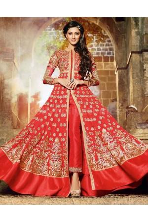 Red floor length Party Wear Designer anarkali kameez