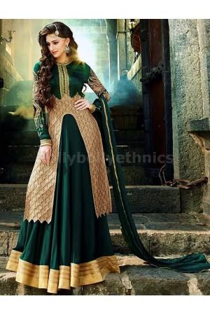 Green lehenga style Party Wear Designer kameez