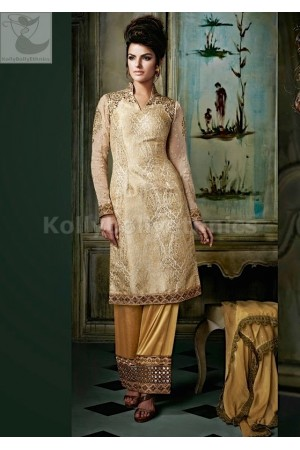 Beige Straight cut Designer Wedding Wear Anarkali kameez