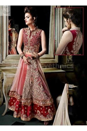 Red and peach colour lehenga  style Designer Wedding Wear Anarkali kameez
