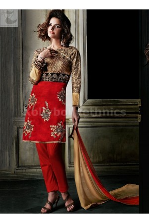 Red and gold Designer Wedding Wear Anarkali kameez
