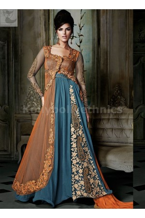 Blue and orange Designer Wedding Wear Anarkali kameez