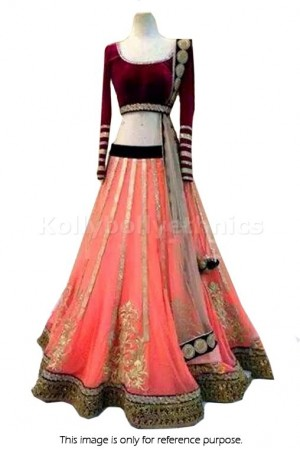 Designer Peach with Maroon Lehenga