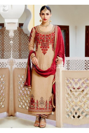 Peach and red colour Wedding straight cut salwar kameez