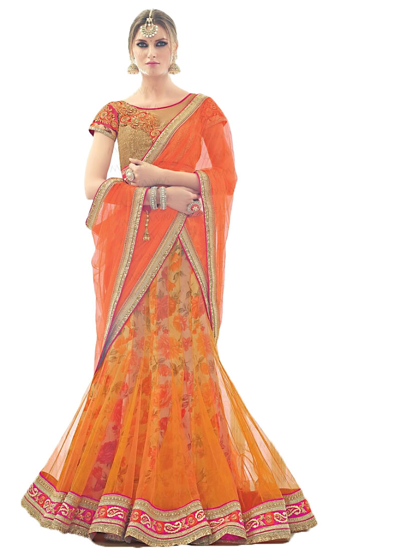 Buy Bewildering Orange Net Lehenga Choli in UK f518941bc