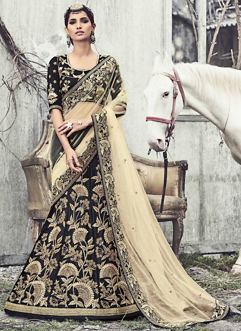 298c4244c3 Buy Concinnonous Black Raw Silk Wedding Lehenga Choli in UK ...