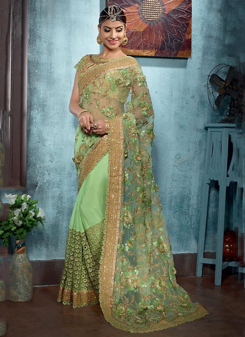 255fe2eadb Bountiful Green Net Designer Saree