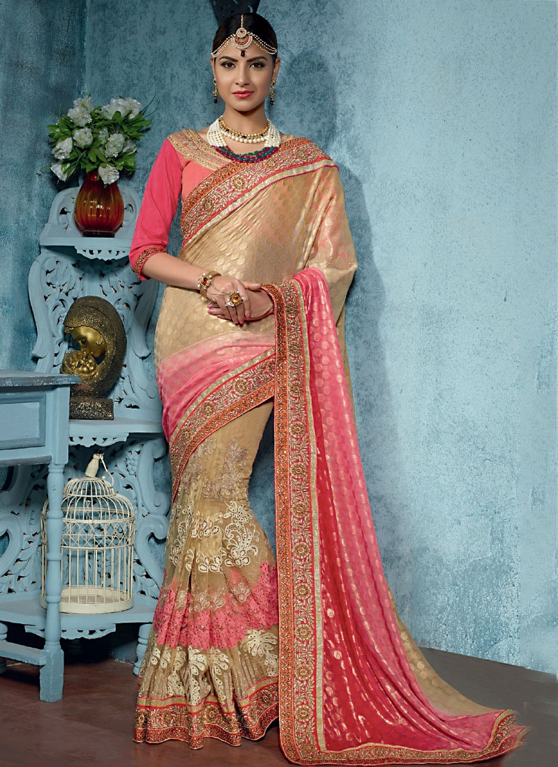 Designer Saris online shopping in USA UK Canada|Buy Natty Cream ...