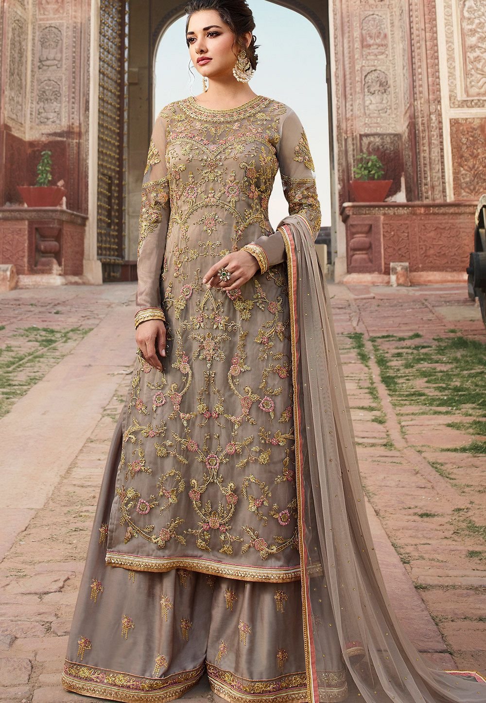 6d13ccd488 grey net embroidered long kameez sharara style pakistani suit 5308