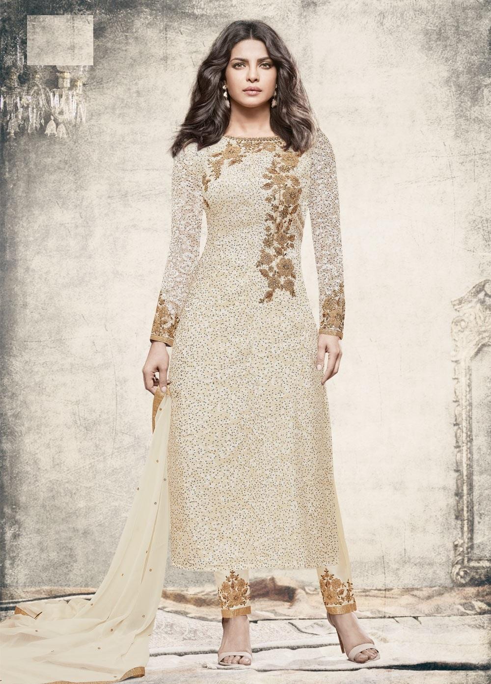 16e3653a227 Priyanka chopra White color straight cut salwar kameez
