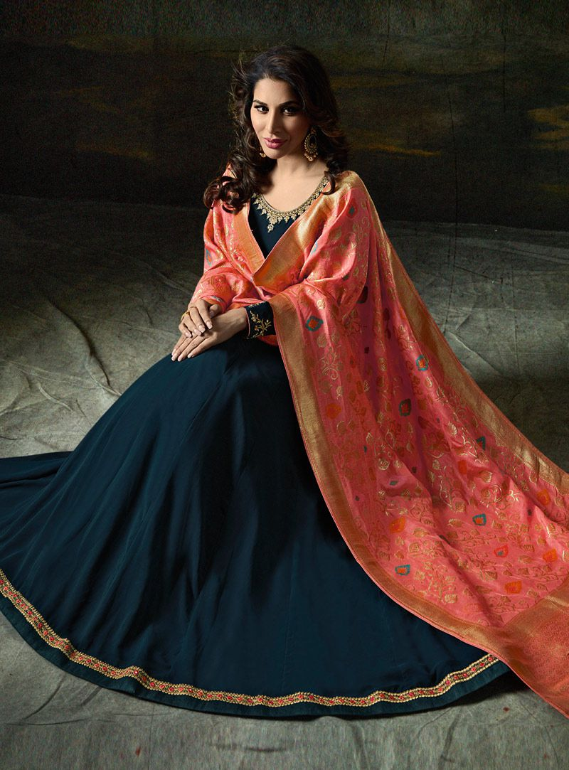 c8b844aeee Buy Sophie Choudry blue and peach color georgette party wear suit in ...