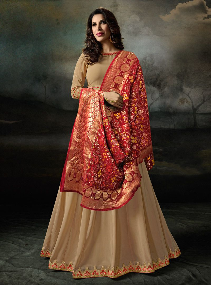 73b09c707a5 Buy Sophie Choudry Chiku and red color georgette party wear suit in ...