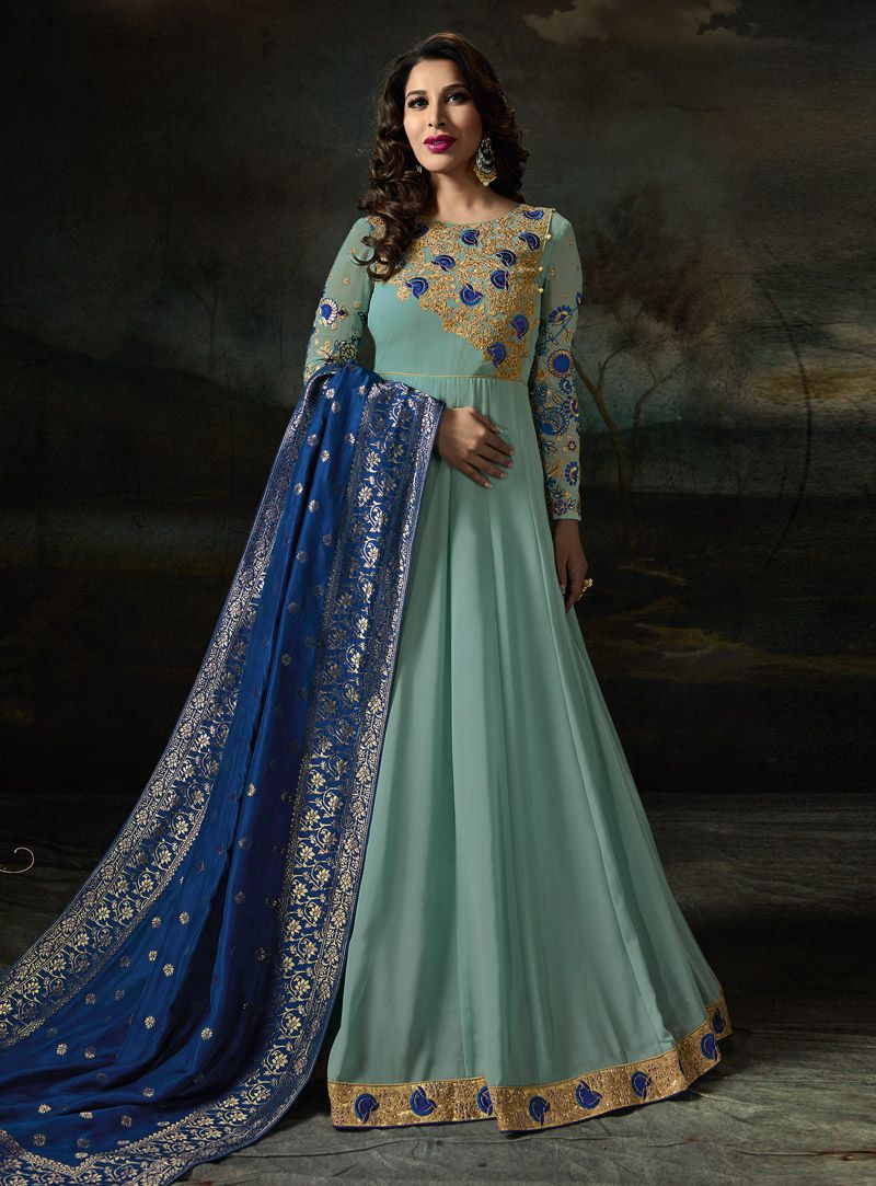 0a8f67bdd2c Buy Sophie Choudry Blue color georgette party wear suit in UK