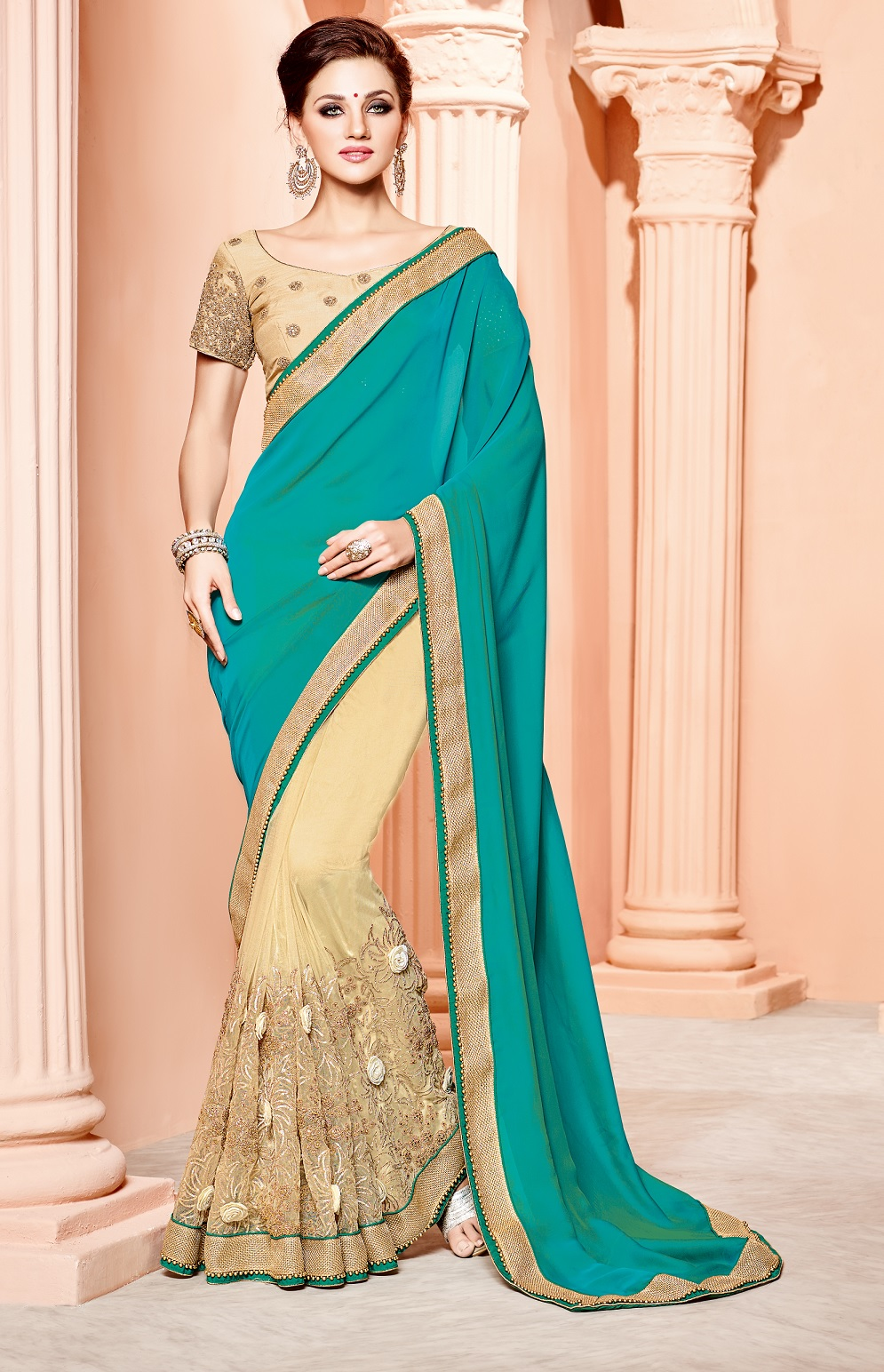 Buy Turquoise and cream silk satin wedding wear saree in UK, USA and ...