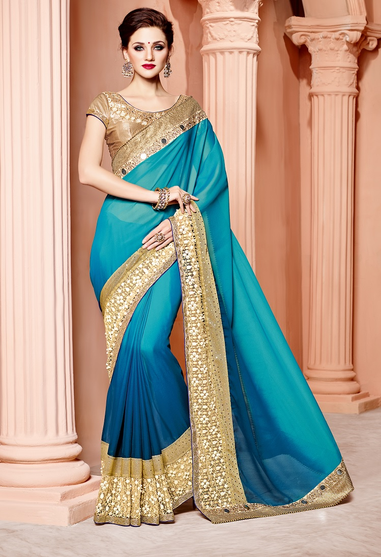 Buy Shaded blue and gold silk wedding wear saree in UK, USA and Canada