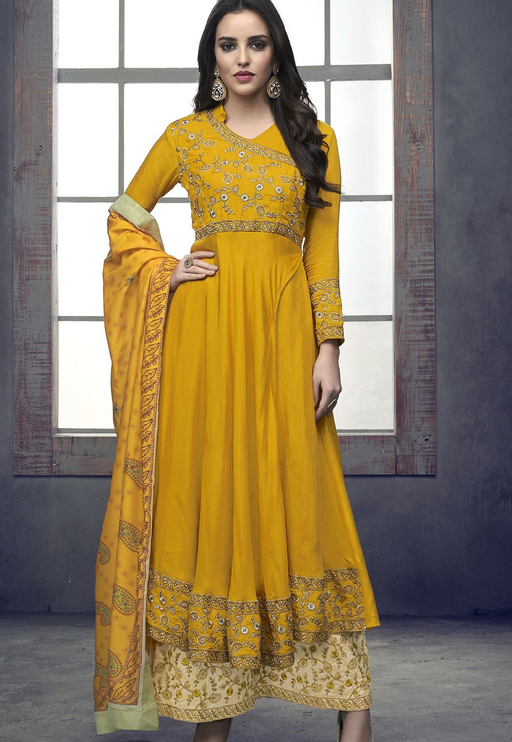 867d1893fc yellow maslin palazzo style embroidered pakistani suit 713