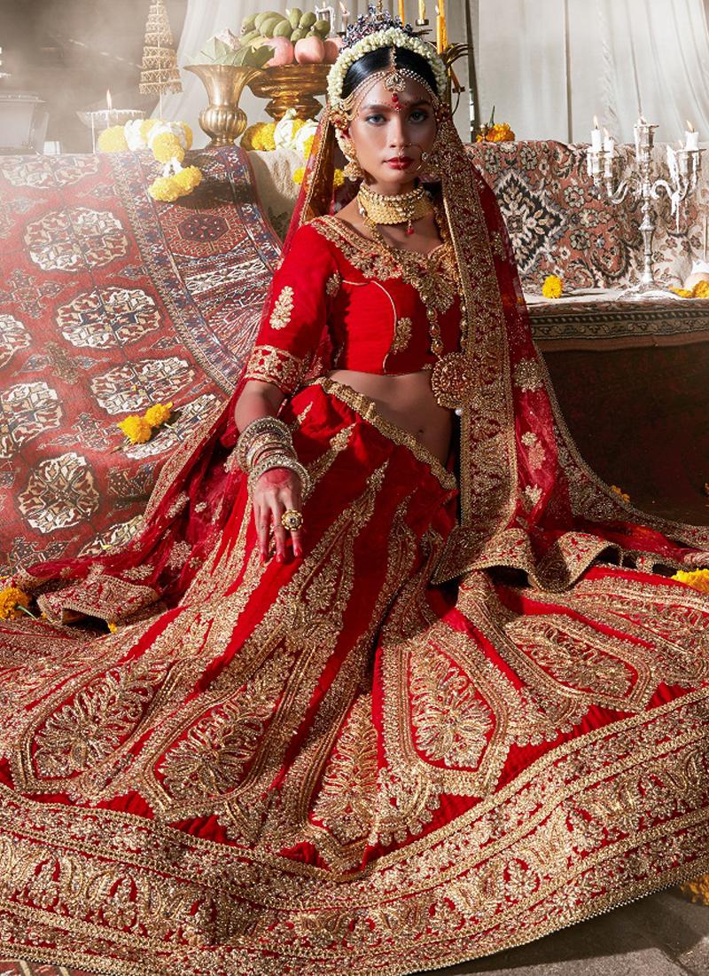 Bridal Lehenga   Buy maroon-velvet-wedding-wear-patch-work-a-line ...