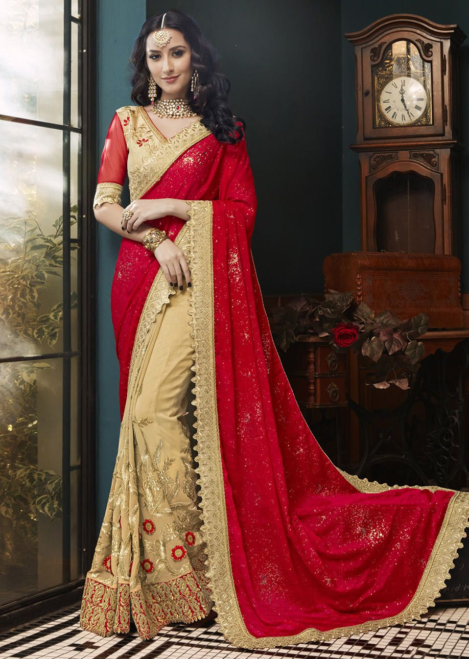 1b1fa08c37 Beige Faux Georgette Embroidered Indian Wedding Saree 5004
