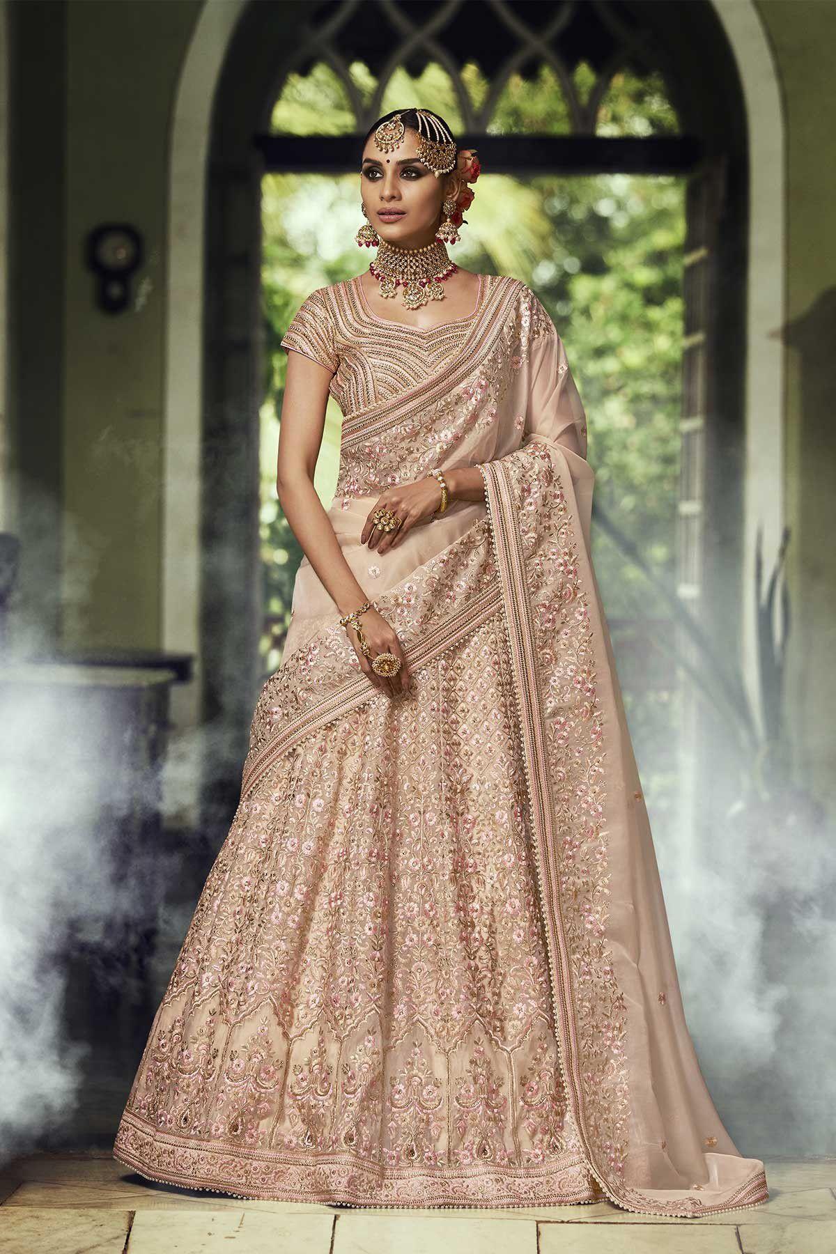 lehenga organza indian beige silk