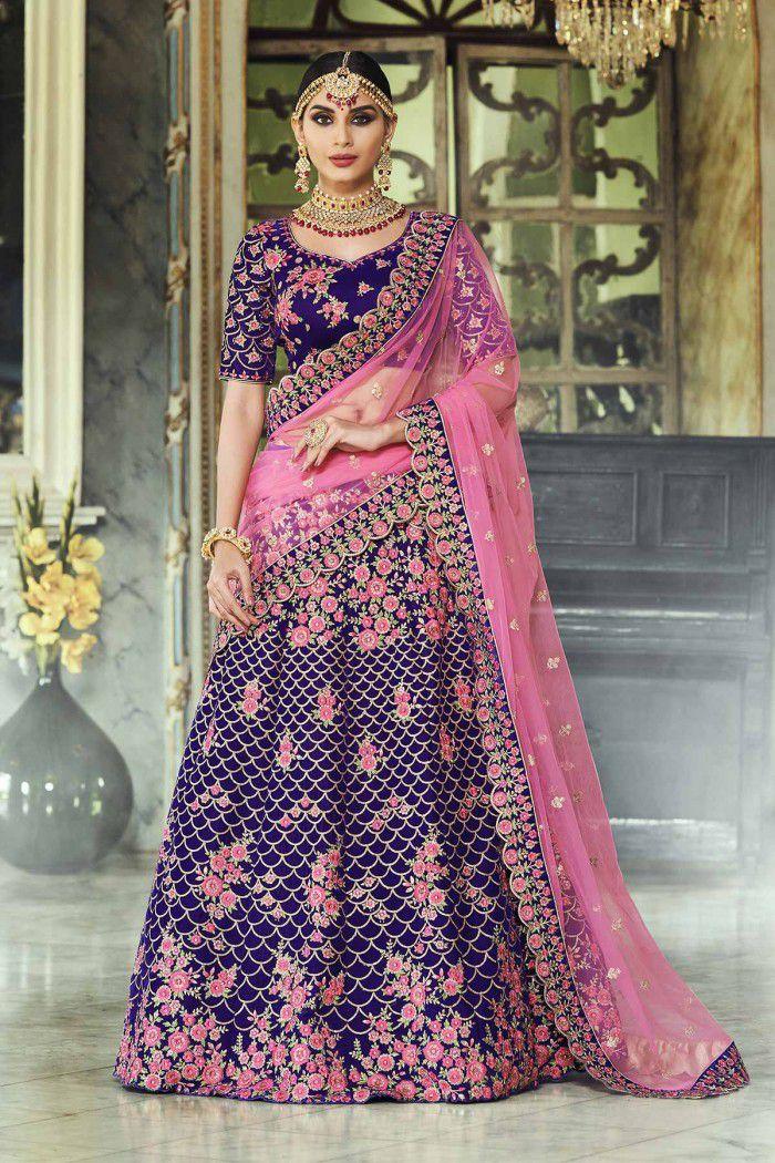 2504e87662159 Buy Purple and pink velvet Indian wedding lehenga in UK, USA and ...