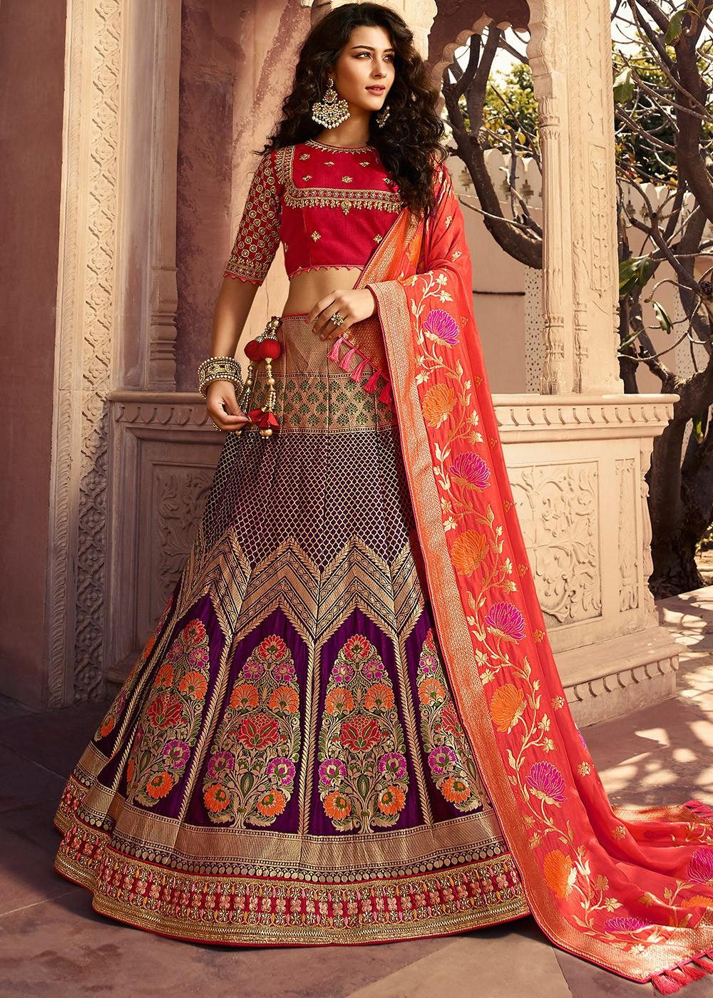 Party Wear Indian Wedding Bridal Lehenga Purple Red 13251,Wedding Royal Blue And Gold Bridesmaid Dresses