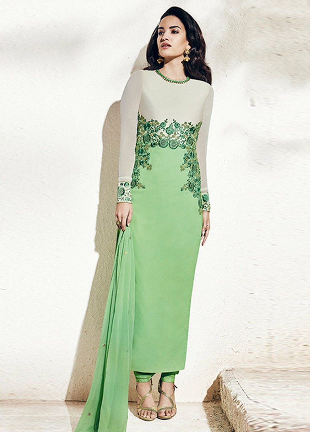 Pista Green Color Georgette Party Wear Straight Cut Salwar Kameez