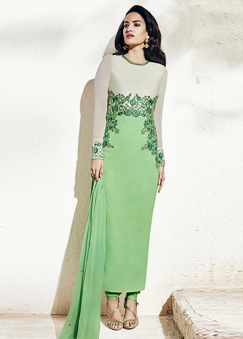 Buy Pista Green Color Georgette Party Wear Straight Cut