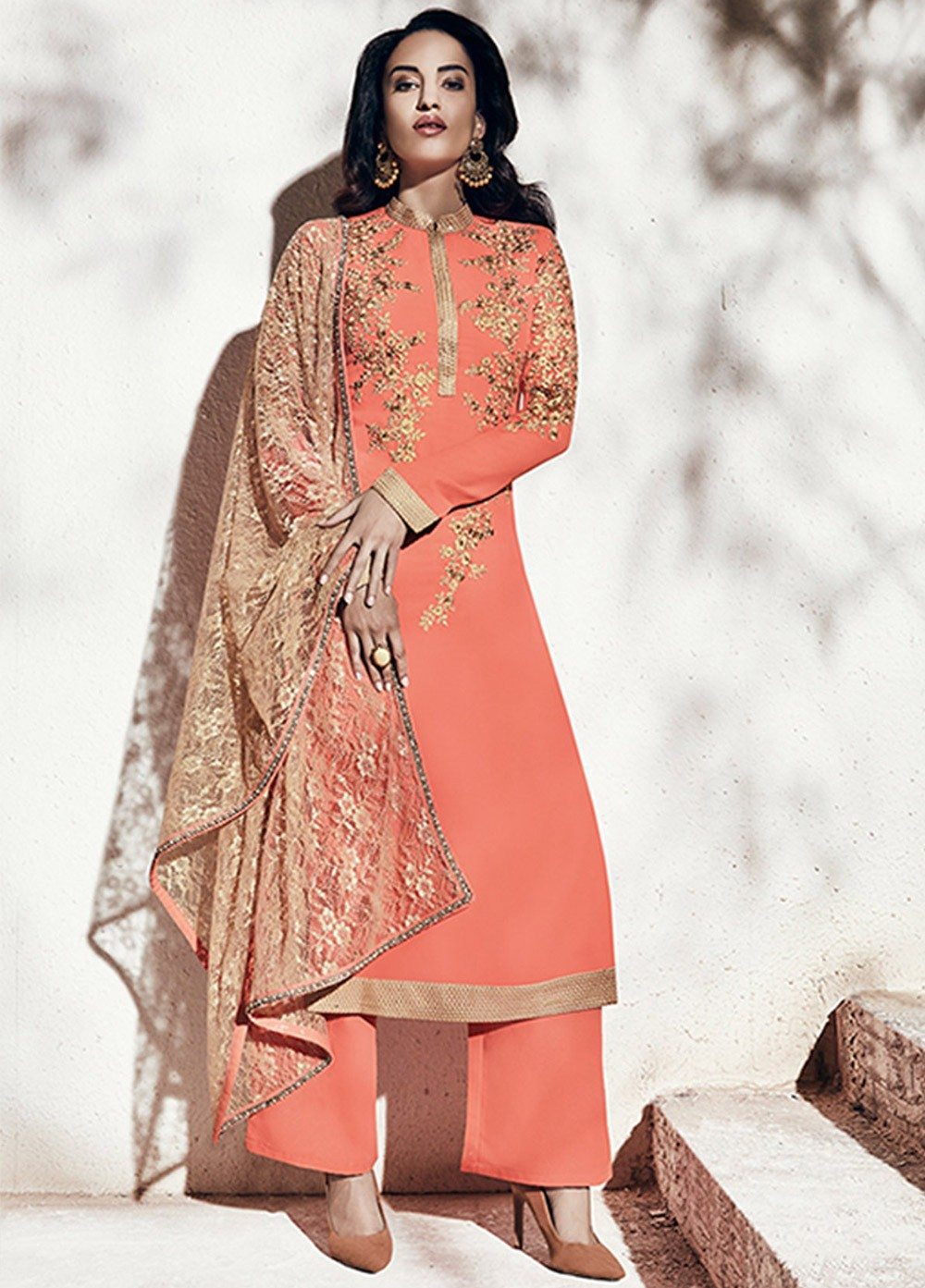 Buy Peach And Gold Color Georgette Party Wear Straight Cut