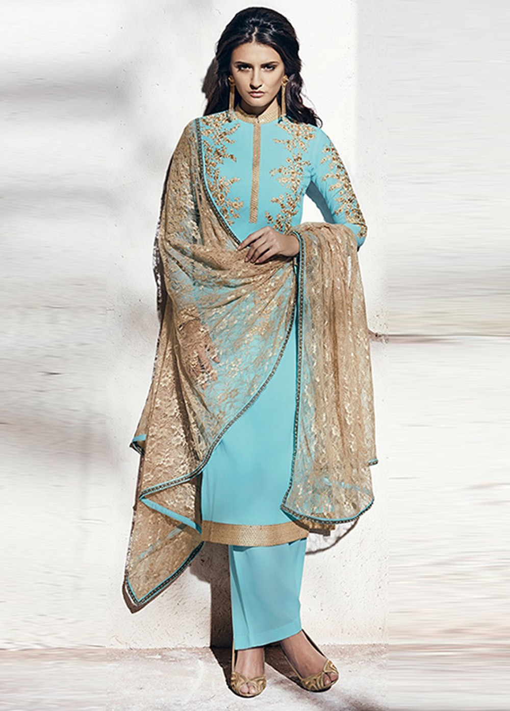 Buy Sea blue color georgette party wear straight cut salwar kameez ...