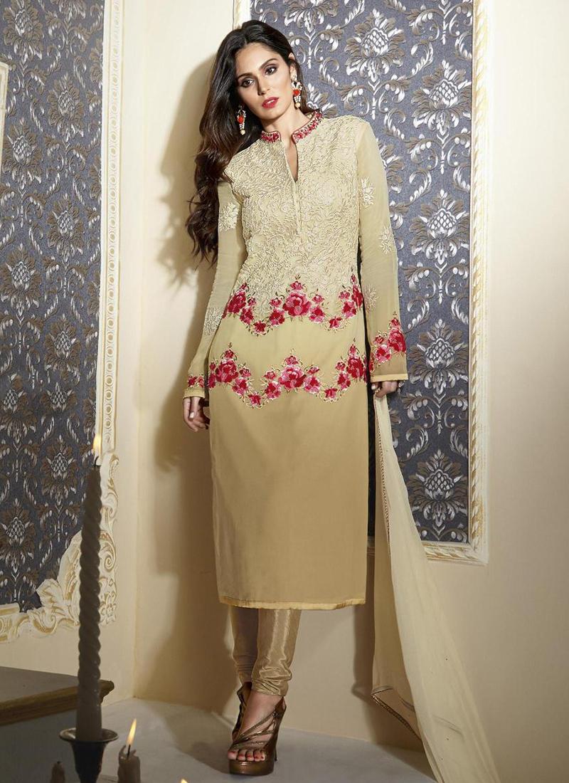 8ff84bd79 Buy Beige colour georgette party wear straight cut salwar kameez in ...