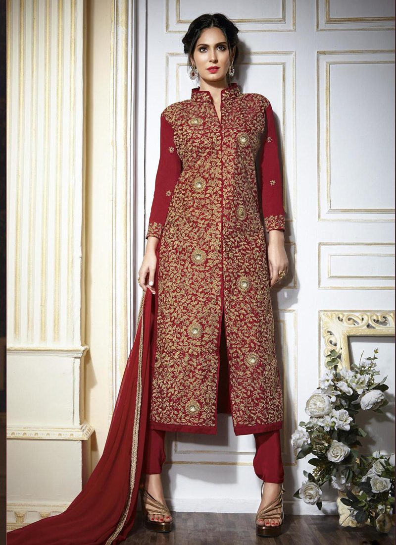 Maroon Colour Georgette Party Wear Straight Cut Salwar Kameez