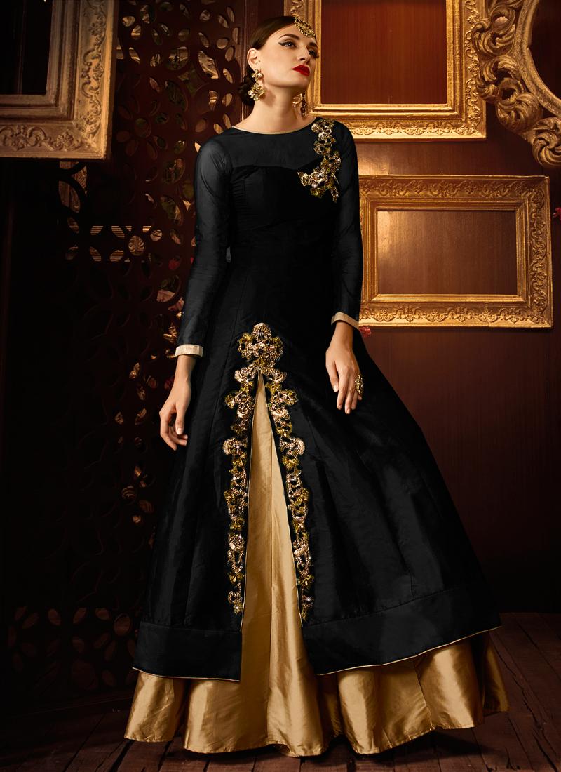 d785724144 Black color taffeta silk party wear lehenga style anarkali suit