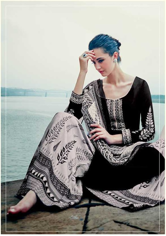 70cb879894 Buy Black and white color cotton palazzo salwar kameez in UK, USA ...
