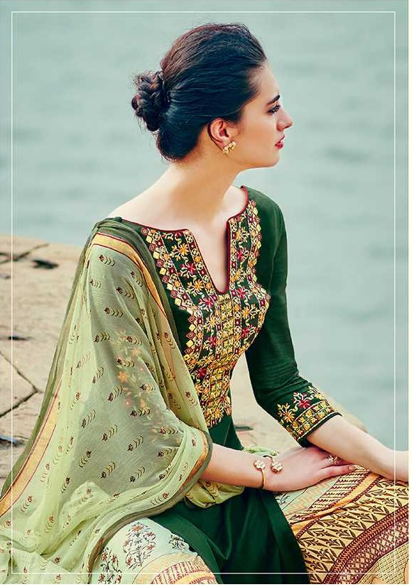9217566ebb Buy Green and yellow color cotton palazzo salwar kameez in UK, USA ...